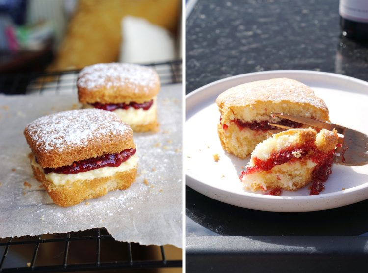 Easy fuss free 4 ingredients mini gluten free Victoria sponge cakes with vanilla buttercream and raspberry jam | Made in a muffin tray
