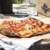 Gluten free crispy Italian thin crust yoghurt pizza topped with mozzarella, cheddar, mushrooms and parmaham
