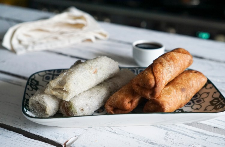 Gluten free egg rolls / spring rolls made with rice paper and jus rol gluten free puff pastry