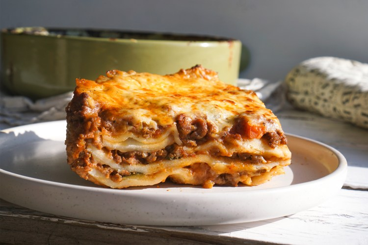 Italian lasagne al forno made with gluten free lasagne sheets made from scratch with fresh egg pasta