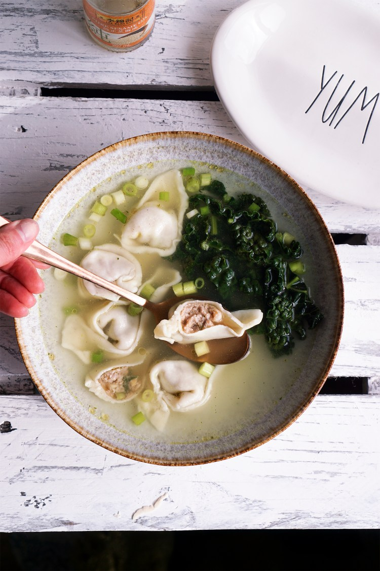 Perfect gluten free wonton wrappers / Chinese dumplings filled with a classic pork and prawn filling, in a wonton soup broth