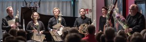 Puhallinkvintetti Arktinen Hysteria Kimmo Hakolan teoksen kantaesityksen jälkeen 2017