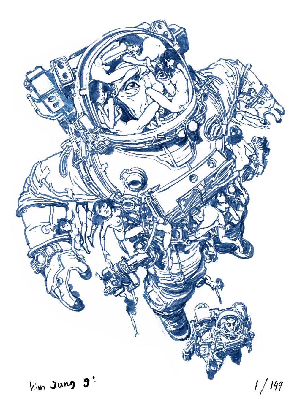 "Kim Jung Gi illustration : ""What's on an astronaut's mind"""