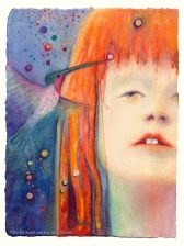 """""""An Altered World,"""" Original watercolor painting of an autistic girl and a hummingbird by Kim Novak. Copyright 2014 Kim Novak. All rights reserved."""