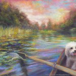 limited edition prints by Kim Novak - Life is But a Dream: Original Painting of a river scene from the point of view of the person rowing a boat, with a small white dog in the bow. Pastel over watercolor by Kim Novak. Copyright 2014 Kim Novak. All rights reserved.