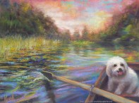 """""""Life is But a Dream,"""" Original Painting of a river scene from the point of view of the person rowing a bat, with a small white dog in the bow. Pastel over watercolor by Kim Novak. Copyright 2014 Kim Novak. All rights reserved."""