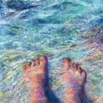 limited edition prints by Kim Novak - The Tides of Humanity: Original Painting of a pair of feet with water flowing over them in pastel over watercolor by Kim Novak. Copyright 2014 Kim Novak. All rights reserved.