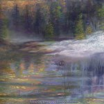 limited edition prints by Kim Novak - When Winter Ends, Original landscape painting of a river with snow and new spring growth in pastel over watercolor by Kim Novak. Copyright 2014 Kim Novak. All rights reserved.