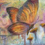 limited edition prints by Kim Novak - Goodbyes and Hellos: Pastel over watercolor painting of a butterfly, with the face of a woman worked into the background with birds and flowers, accompanied by this poem, also by Kim Novak: 'Light ever changing - God only knows, Life is recycling goodbyes and hellos' ~Kim NovaK © Copyright 2014 Kim Novak, all rights reserved.