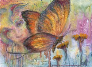 Pastel over watercolor painting of a butterfly, with the face of a woman worked into the background with birds and flowers, accompanied by this poem, also by Kim Novak: Light ever changing - God only knows why, Life is recycling, 'hello and goodbye.' ~Kim NovaK
