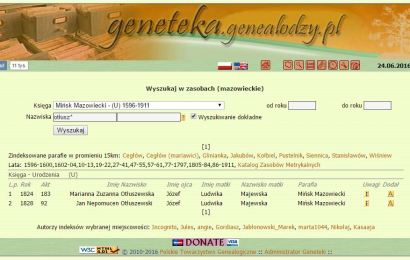 Indeksy akt metrykalnych – Ołtuszewscy