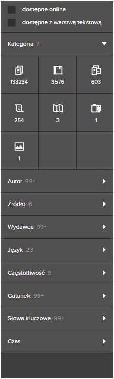 Polona - cyfrowa część Biblioteki Narodowej menu boczne