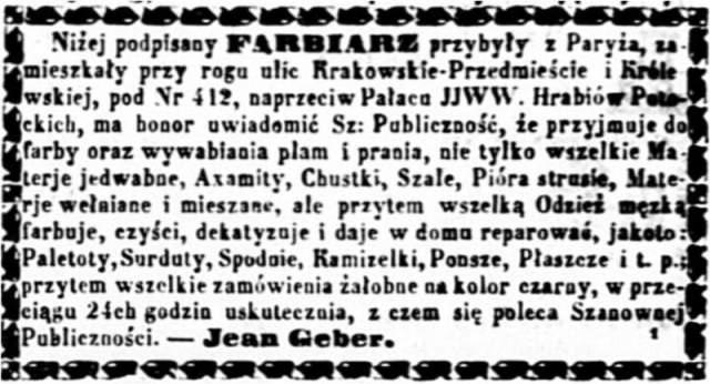Jean Geber (1826-1902) Ogłoszenie 1858 pażdziernik