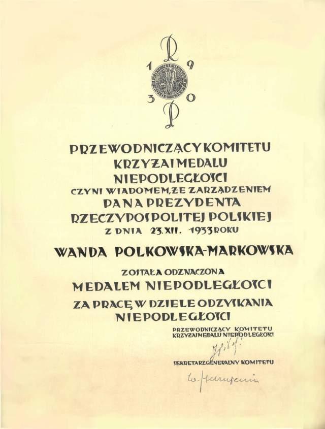 Wanda Polkowska-Markowska Dyplom Medalu Niepodległości