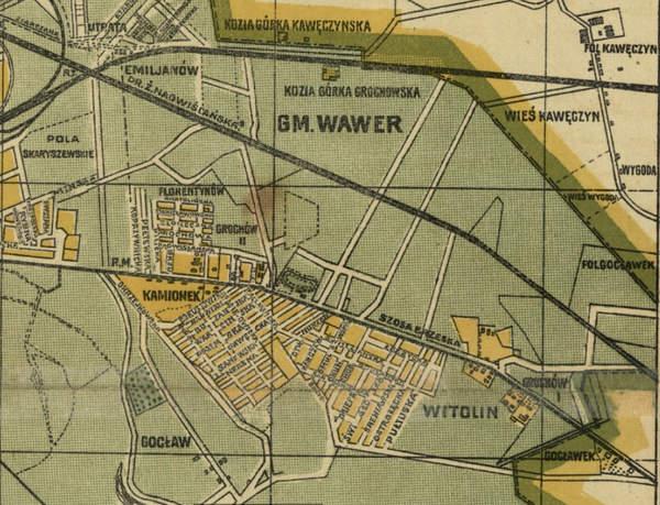 Grochów na planie informacyjnm Wielkiej Warszawy, Litografia Ottona Flecka Druk 1919 Źródło: Polona
