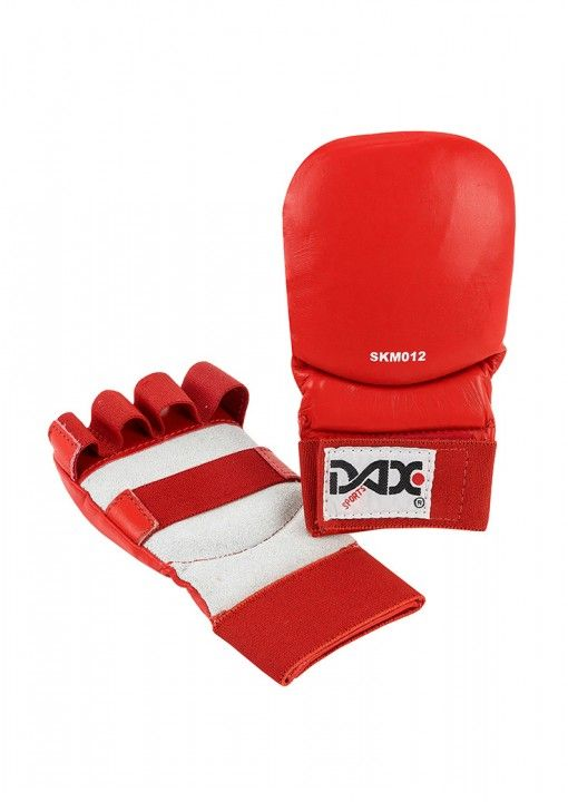 guantes Jiu Jitsu de cuero DAX de color rojo