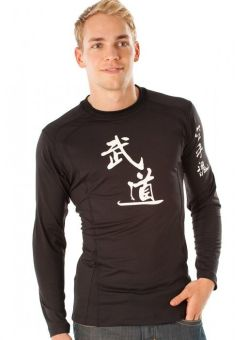 camiseta de manga larga negra judo para hombre