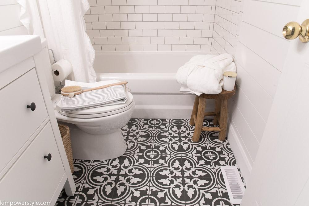 One Room Challenge   Modern Farmhouse Bathroom   The ... on Farmhouse Bathroom Floor Tile  id=39711