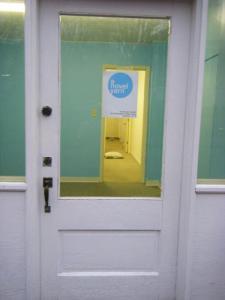 Front door of Tara Swiger's new store, A Novel Yarn