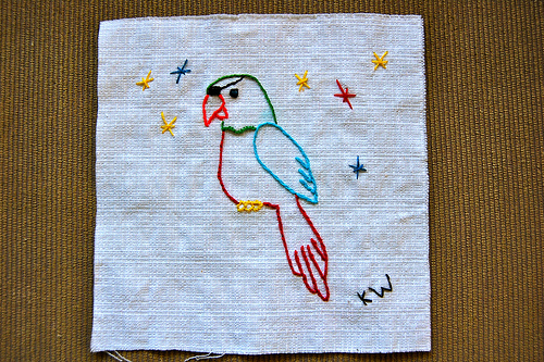 pirate parrot embroidery photo