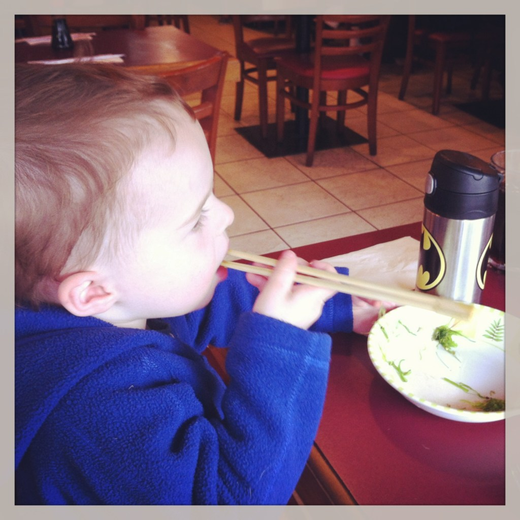 When we weren't looking, Owen figured out how he can use chopsticks to shovel seaweed salad into his face. It was breathtaking, really.