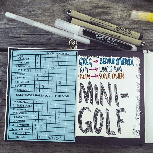 Art Journaling - mini golf