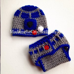 crocheted R2D2 baby costume