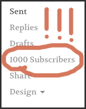 1000 TinyLetter subscribers!