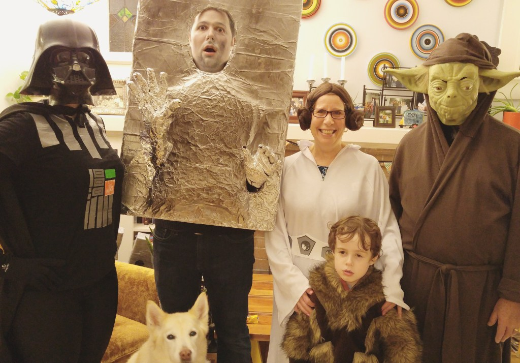 DIY Star Wars costumes for Halloween: Darth Vader, Chewbacca, Han Solo in carbonite