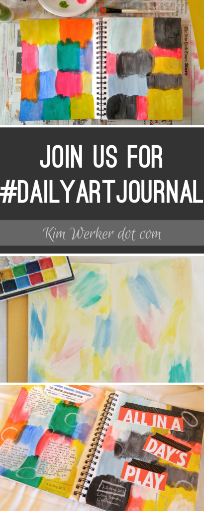 Get started art journaling! Join in on a monthlong challenge to spend a few minutes art journaling every day!