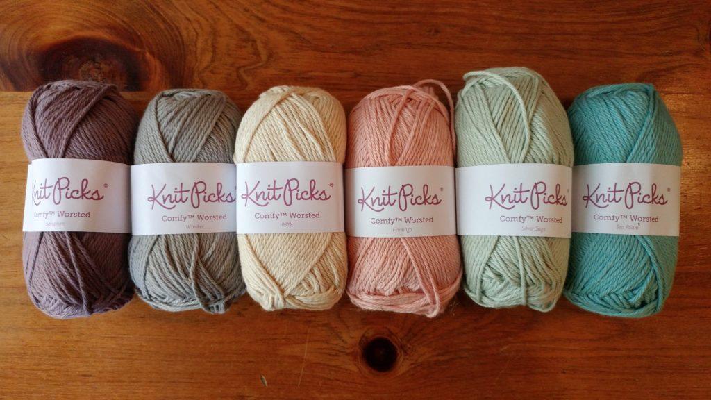 Knit Picks Comfy Worsted yarn palette for Sophie's Universe crocheted blanket