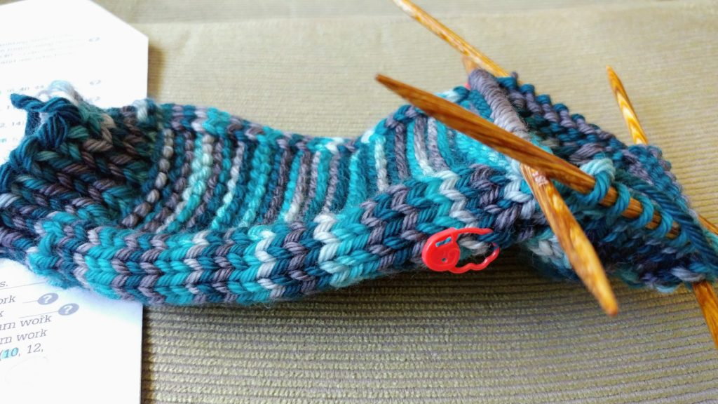 Knitting a sock in worsted weight yarn. http://www.kimwerker.com/blog