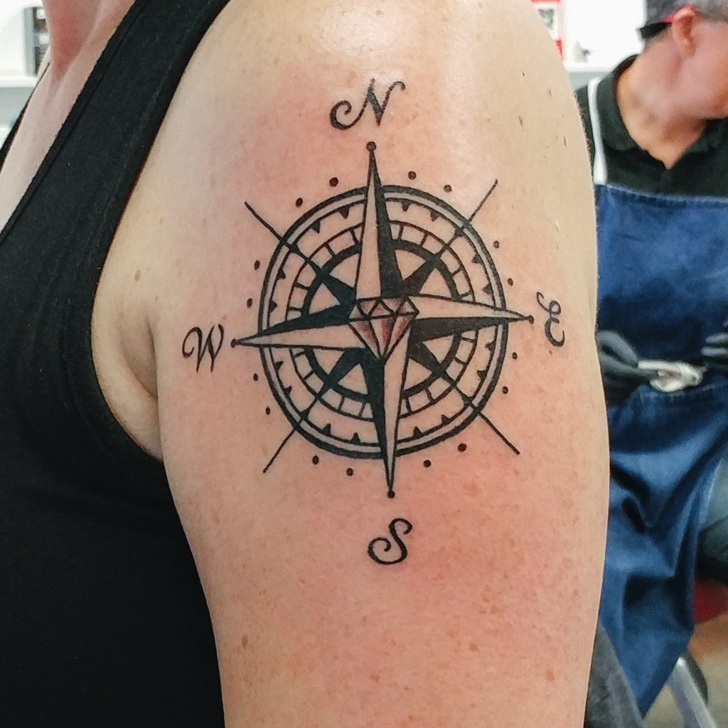 Compass rose tattoo, by Sam McWilliams, Vancouver, BC. http://kimwerker.com/blog
