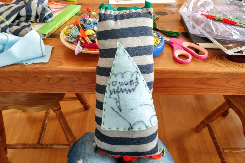 Upcycled pillow out of outgrown pajamas. So fun! – http://kimwerker.com/blog