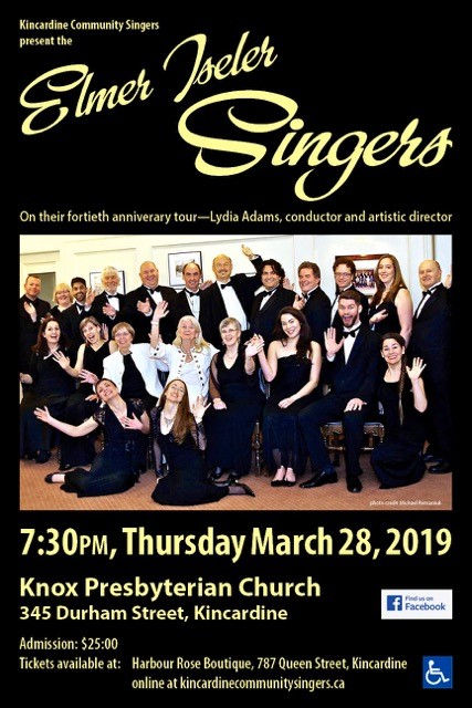 Kincardine Community Singers present The Elmer Iseler Singers on March 28, 2019