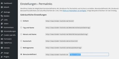 WordPress – Permalink Struktur nachträglich ändern