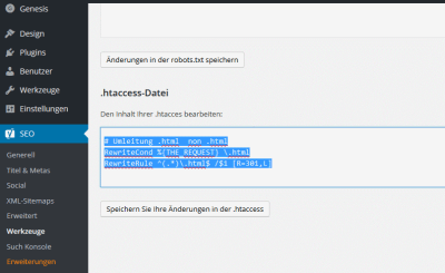WordPress – Umleitung .html Seiten in htaccess