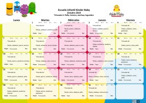 Menú triturado octubre 2019 Guardería Kinder Baby