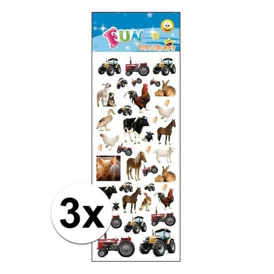 3x Stickersetje boerderij dieren
