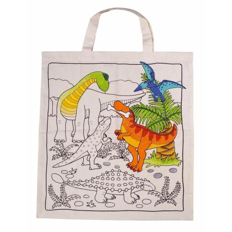 Dinosaurus motief tas geschikt voor waskrijtjes