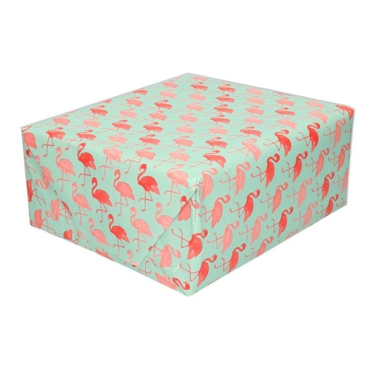Groen papier met flamingo op rol 200 cm