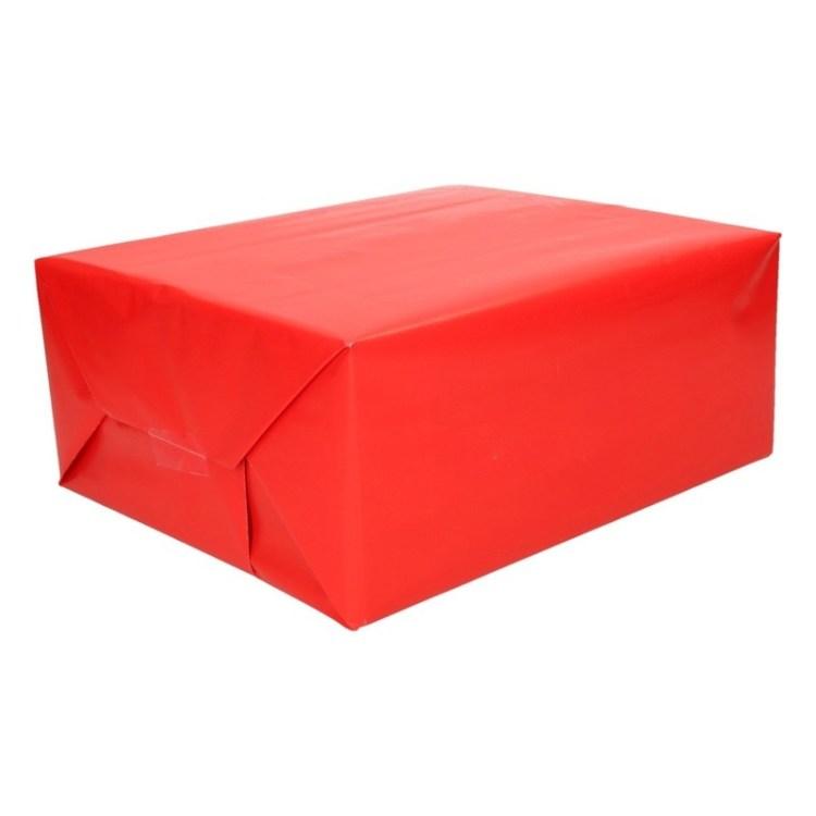 Inpakpapier/cadeaupapier helder rood 200 x 70 cm op rol
