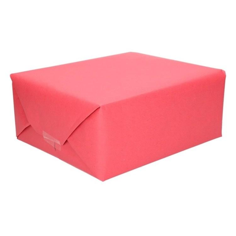 Inpakpapier/cadeaupapier rood kraftpapier 200 x 70 cm rol
