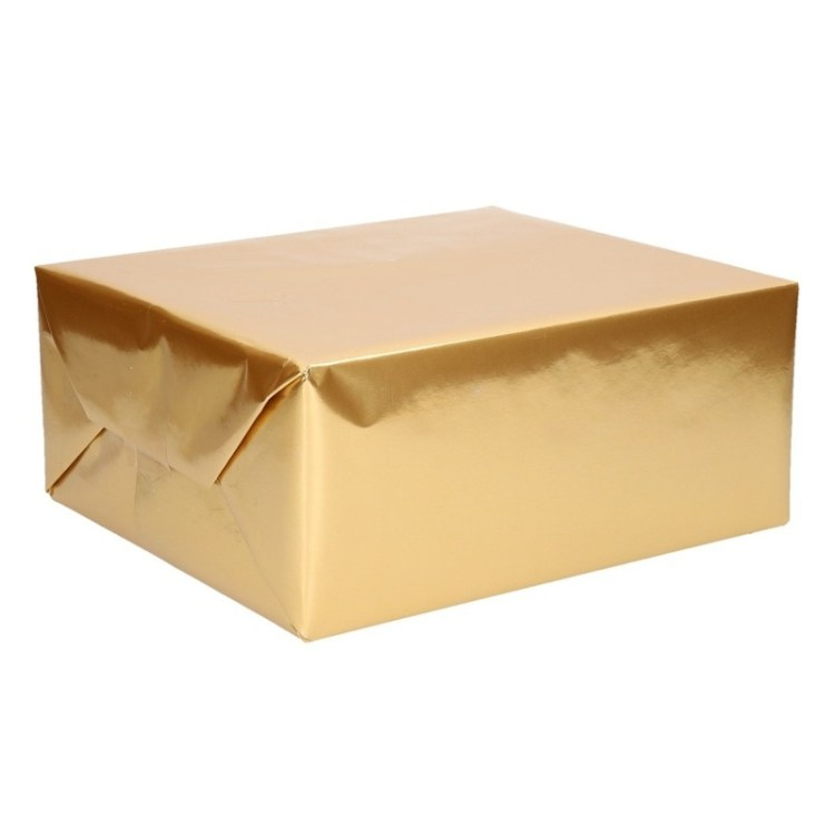 Kado inpakpapier op rol uni goud 76 x 500 cm
