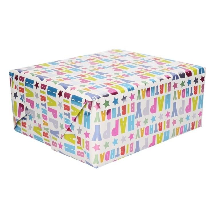 Papier met Happy Birthday teksten op rol 150 cm