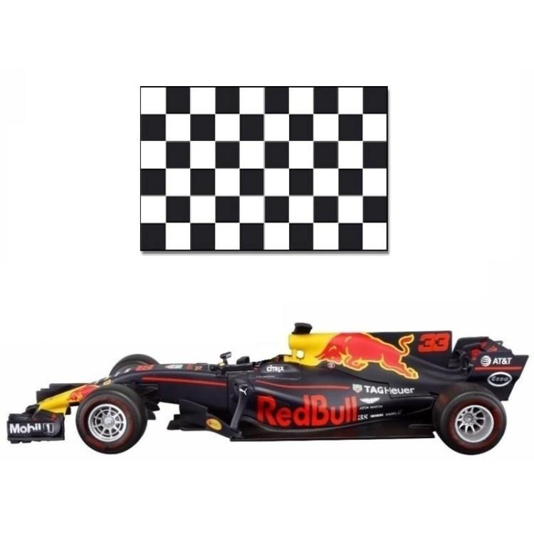 Red Bull F1 wagen RB13 Max Verstappen 1:43 met finish vlag