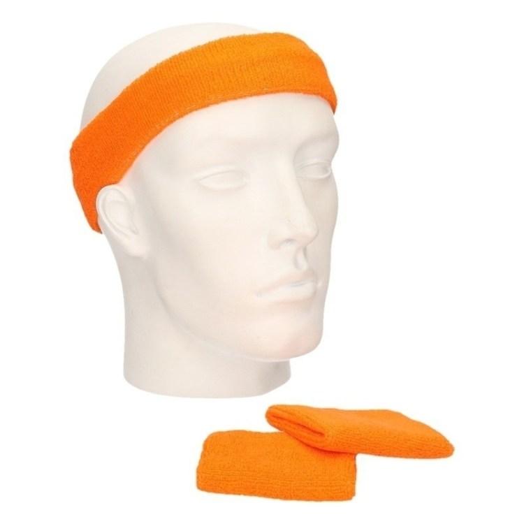 Sportdag set oranje zweetbandjes