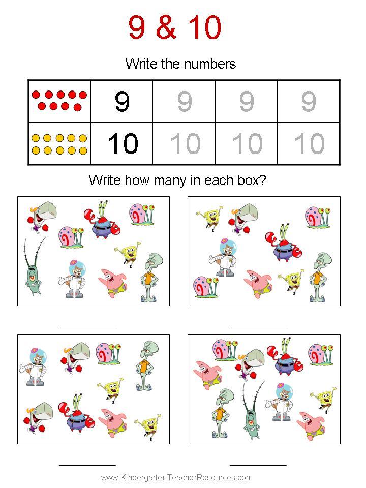 Spongebob Math Worksheets