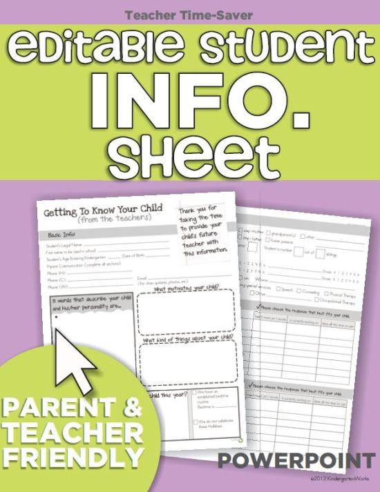 Personal Information Worksheet For Kindergarten