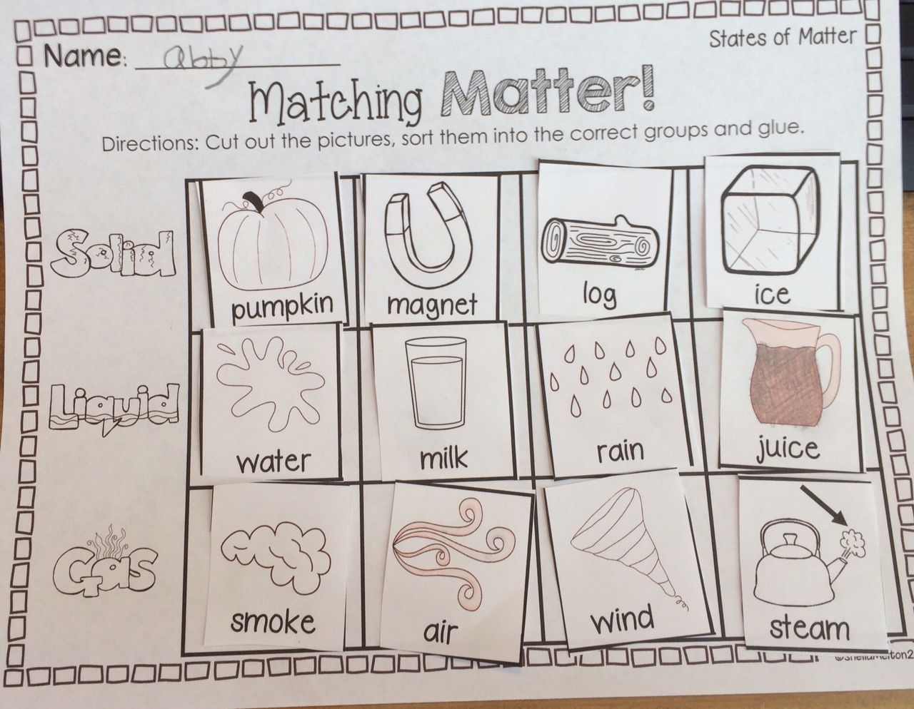 Solids And Liquids Worksheet Kindergarten